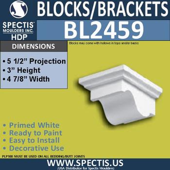 "BL2459 Eave Block or Bracket 5""W x 3""H x 5.5"" P"