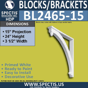 "BL2465-15 Eave Block or Bracket 3.5""W x 24""H x 15"" P"
