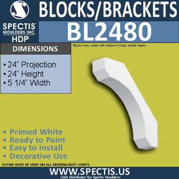"BL2480 Eave Block or Bracket 5.25""W x 24""H x 24"" P"