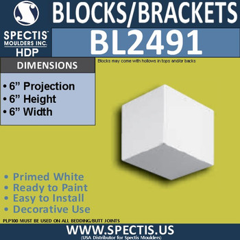 "BL2491 Eave Block or Bracket 6""W x 6""H x 6"" P"
