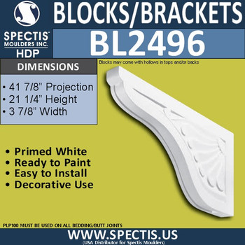 "BL2496 Eave Block or Bracket 4""W x 21.75""H x 42"" P"