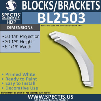 "BL2503 Eave Block or Bracket 6.1""W x 30.2""H x 30.2"" P"