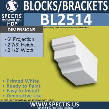 "BL2514 Eave Block or Bracket 2.5""W x 3""H x 6"" P"