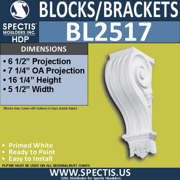 "BL2517 Eave Block or Bracket 5.5""W x 16.25""H x 6.5"" P"
