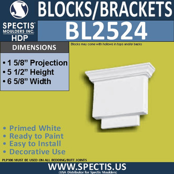 "BL2524 Eave Block or Bracket 6.5""W x 5.5""H x 2"" P"