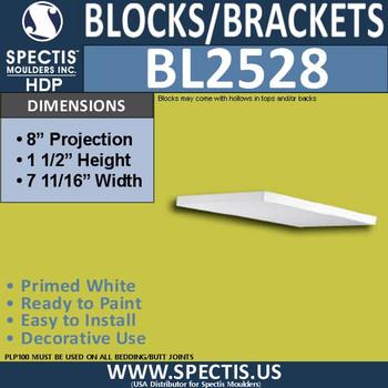 "BL2528 Eave Block or Bracket 8""W x 1.5""H x 8"" P"