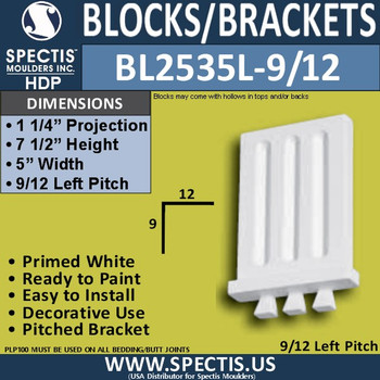 "BL2535L-9/12 Pitch Eave Bracket 5""W x 7.5""H x 1.25"" P"