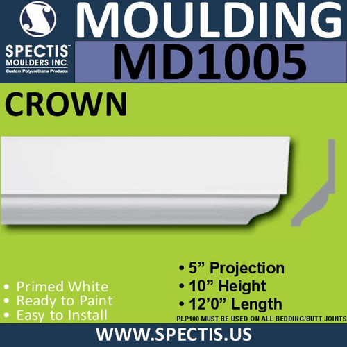 "MD1005 Crown Molding Trim  5""P x 10""H x 144""L"