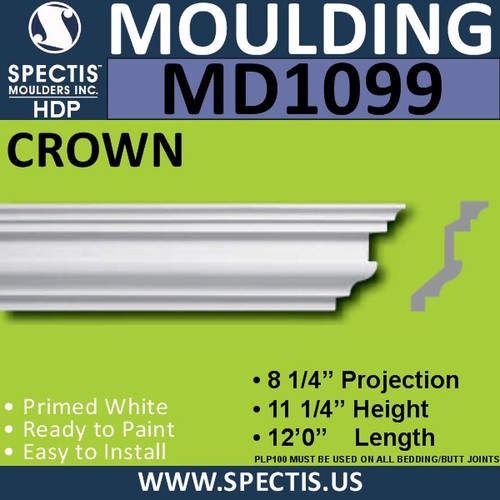 "MD1099 Spectis Crown Molding Trim 8 1/4""P x 11 1/4""H x 144""L"