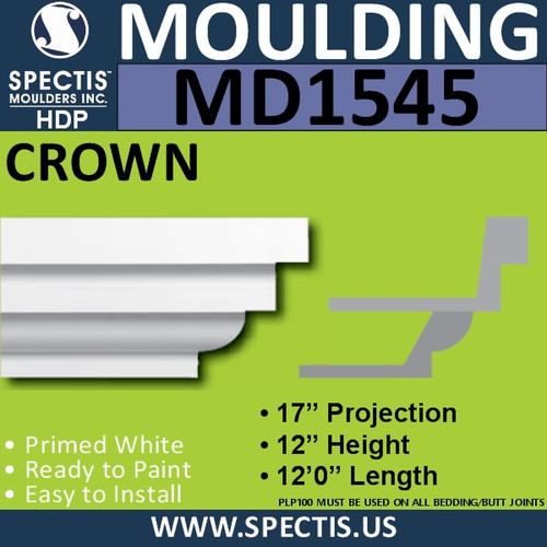 "MD1545 Spectis Crown Molding Trim 17""P x 12""H x 144""L"