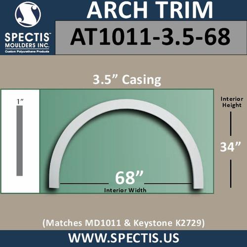 "AT1011-3.5-68 Flat Trim Urethane Door or Window Arch 68"" ID"