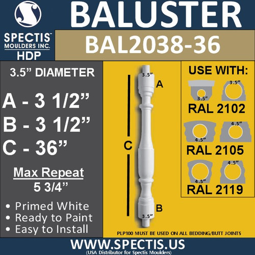 """BAL2038-36 Spectis Baluster or Spindle 3 1/2"""" x 36"""""""