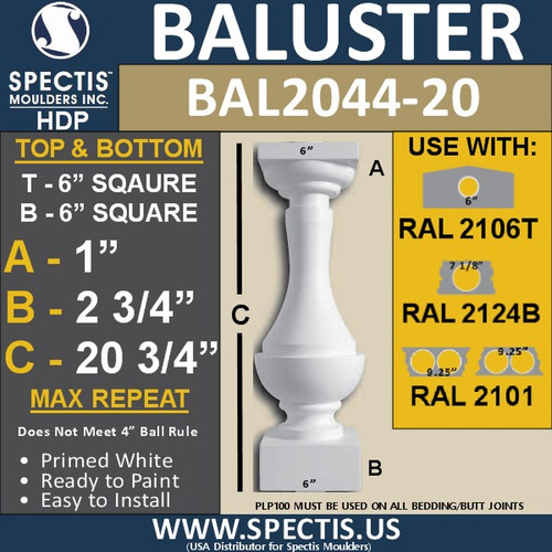 "BAL2044-20 Large Urethane Baluster or Spindle 6"" x 20 3/4"""
