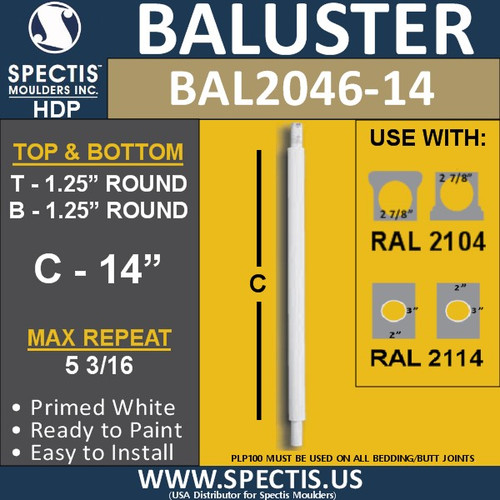"BAL2046-14 Spectis Urethane Round Baluster 1 1/4"" x 14"""