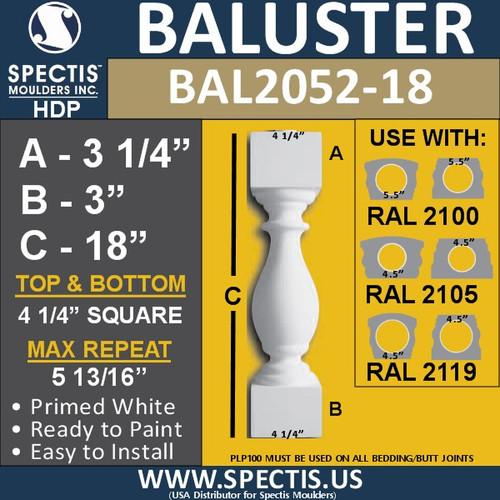 "BAL2052-18 Spectis Urethane Railing Baluster 4 1/4"" x 18"""