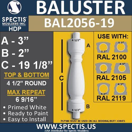 "BAL2056-19 Spectis Urethane Railing Baluster 4 1/2"" x 19 1/8"""
