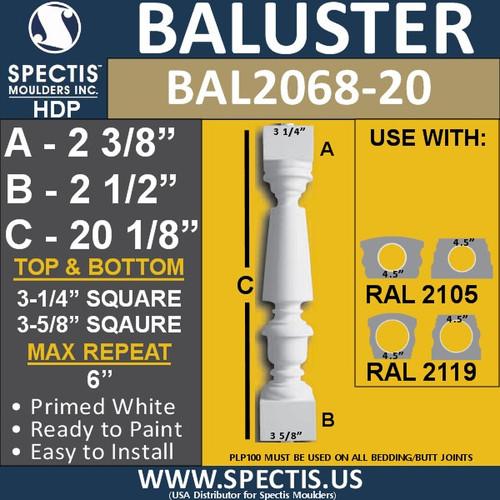 "BAL2068-20 Spectis Urethane Railing Baluster 3 1/4"" x 20 1/8"""