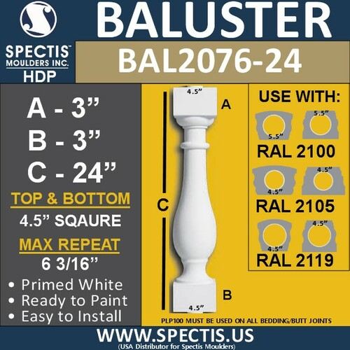 "BAL2076-24 Spectis Urethane Railing Baluster 4 1/2"" x 24"""