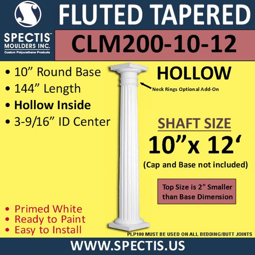 """CLM200-10-12 Fluted Tapered Column 10"""" x 144"""""""