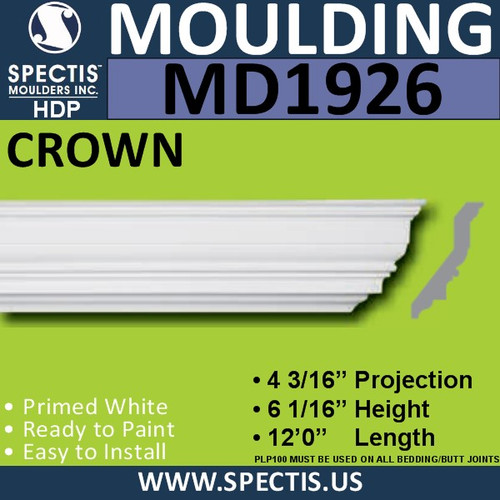 MD1926 Crown Molding Trim decorative spectis urethane