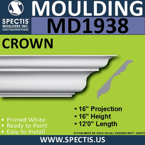 MD1938 Crown Molding Trim decorative spectis urethane