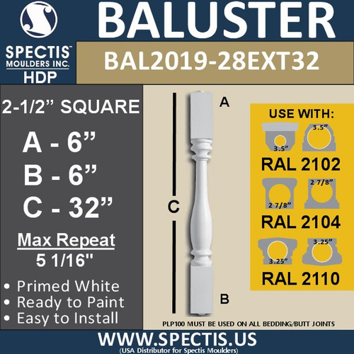 "BAL2019-28EXT32 Urethane Baluster or Spindle 2 1/2""W X 32""H"