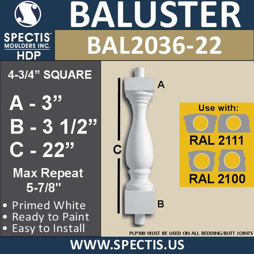 "BAL2036-22 Spectis Baluster or Spindle 4 3/4"" x 22"""