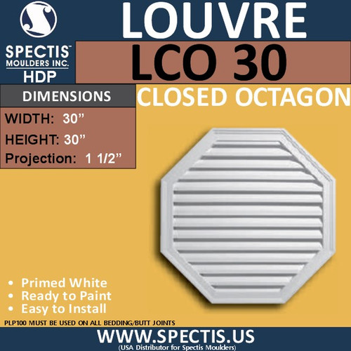 LCO30 Octagon Gable Louver Vent - Closed - 30""