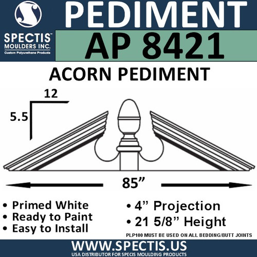 "AP8421 Acorn Pediment for Window/Door 85"" x 21 5/8"""