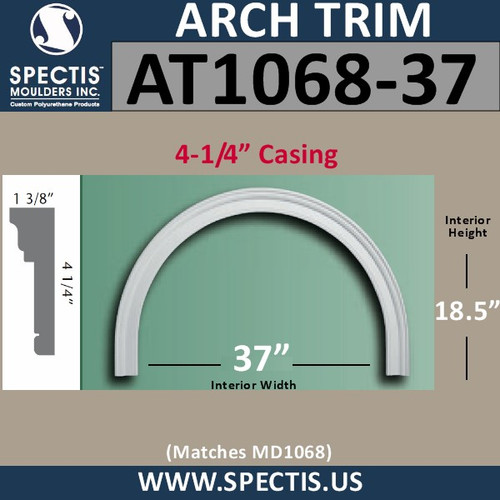 "AT1068-37 Arch Circle Top 4.25"" Casing Fits 37"" Opening"