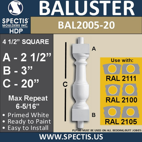 "BAL2005-20 Urethane Baluster or Spindle 4 1/2""W X 30""H"