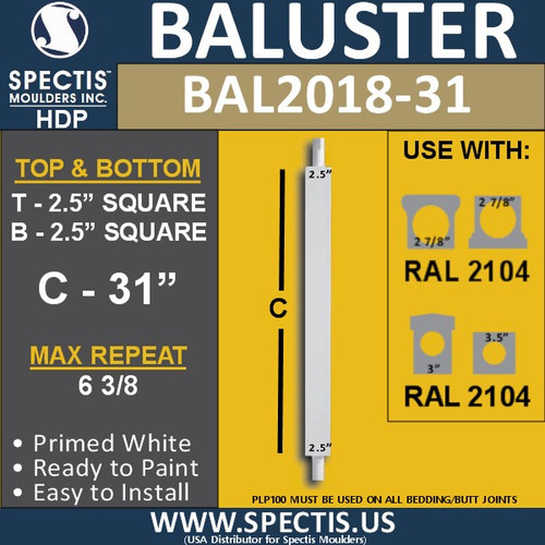 """BAL2018-31 Urethane Baluster or Spindle 2 1/2""""W X 31""""H"""