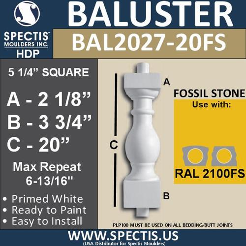 """BAL2027-20FS Urethane Fossil Stone Baluster 5 1/4""""W X 20""""H"""