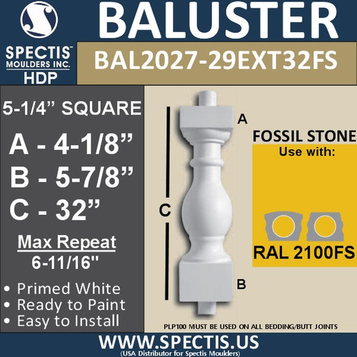 "BAL2027-29EXT32FS Fossil Stone Baluster 5 1/4""W X 32""H"