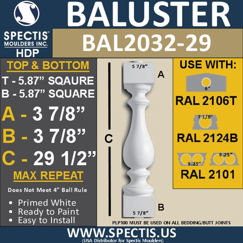 "BAL2032-29 Urethane Baluster or Spindle 5 7/8""W X 29 1/2""H"