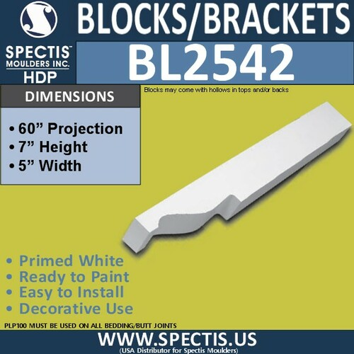 "BL2542 Eave Block or Bracket 5""W x 7""H x 60"" P"