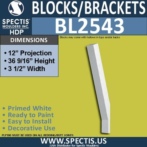 "BL2543 Eave Block or Bracket 3.5""W x 36.5""H x 12"" P"