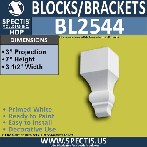 "BL2544 Eave Block or Bracket 3.5""W x 7""H x 3"" P"