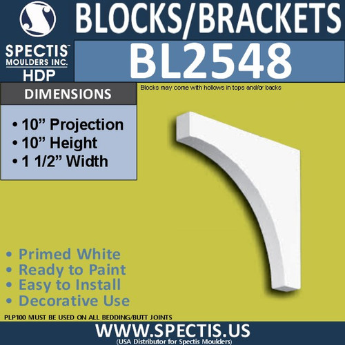 "BL2548 Eave Block or Bracket 1.5""W x 10""H x 10"" P"