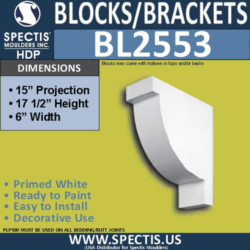 "BL2553 Eave Block or Bracket 6""W x 17.5""H x 15"" P"