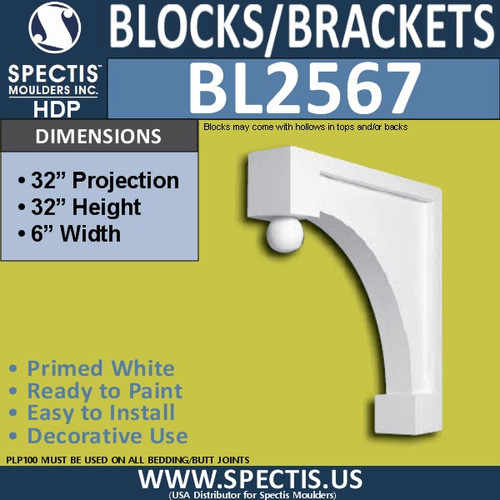 "BL2567 Eave Block or Bracket 6""W x 32""H x 32"" P"