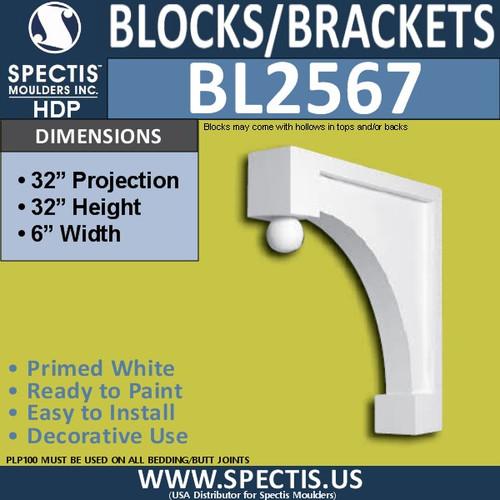 "BL2567 Eave Block or Bracket 6""W x 32""H x 32"" P"
