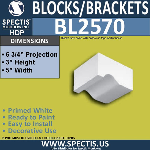 "BL2570 Eave Block or Bracket 5""W x 3""H x 6.75"" P"
