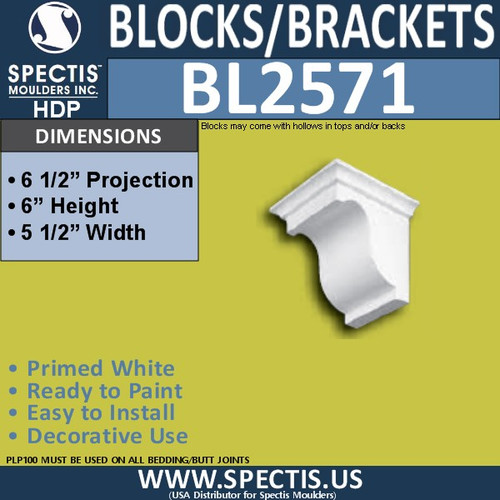 "BL2571 Eave Block or Bracket 5""W x 6""H x 6.5"" P"