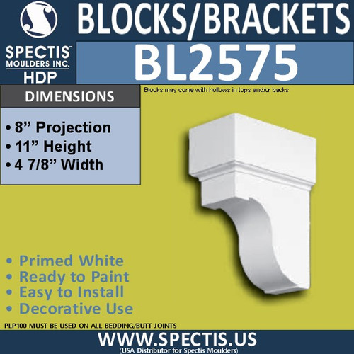 "BL2575 Eave Block or Bracket 5""W x 11""H x 8"" P"