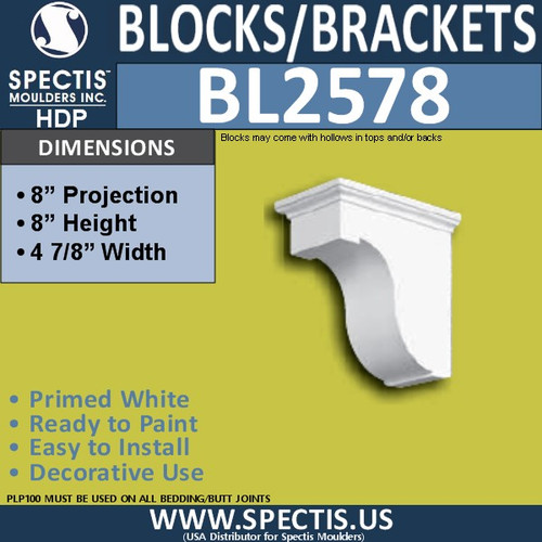 "BL2578 Eave Block or Bracket 5""W x 8""H x 8"" P"