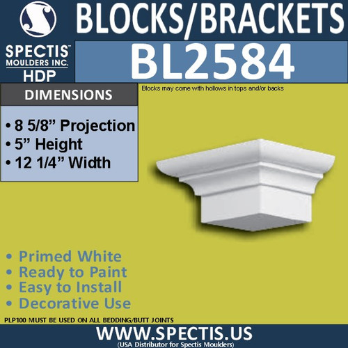 "BL2584 Eave Block or Bracket 12.25""W x 5""H x 8"" P"