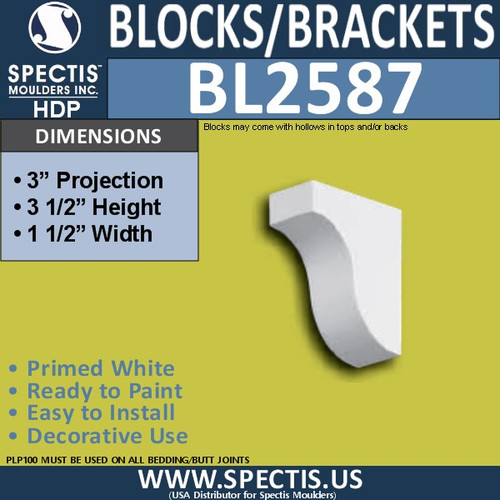 "BL2587 Eave Block or Bracket 1.5""W x 3.5""H x 3"" P"