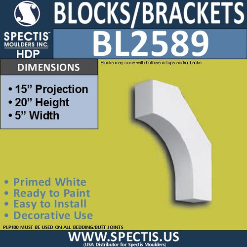 "BL2589 Eave Block or Bracket 5""W x 20""H x 15"" P"
