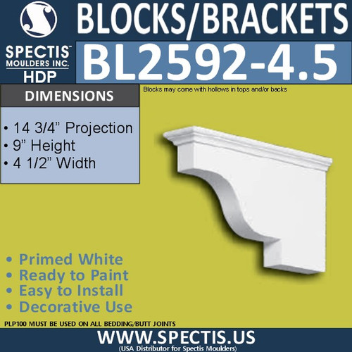 "BL2592-4.5 Eave Block or Bracket 4.5""W x 9""H x 14"" P"